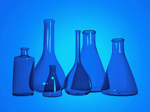 chemistry test tubes mad ein 3d with a blue tint